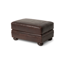 Newbury Leather Footstool in Chocolate Espresso