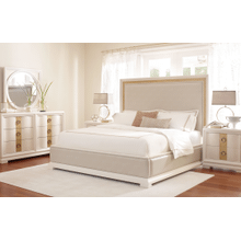 Tower Suite - Pearl Finish Upholstered Bed King 6/6