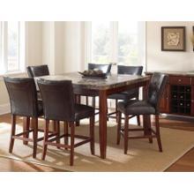 Montibello 7 Piece Marble Top Counter Set(Counter Table & 6 Counter Chairs)