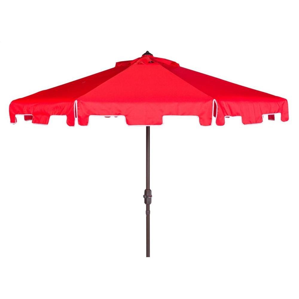 Uv Resistant Zimmerman 9 Ft Crank Market Auto Tilt Umbrella With Flap - Red / White