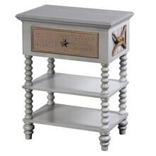 MONTAUK SIDE TABLE  29in X 22in X 14in  Montauk Inspired Single Drawer Chest with Caning And Rope