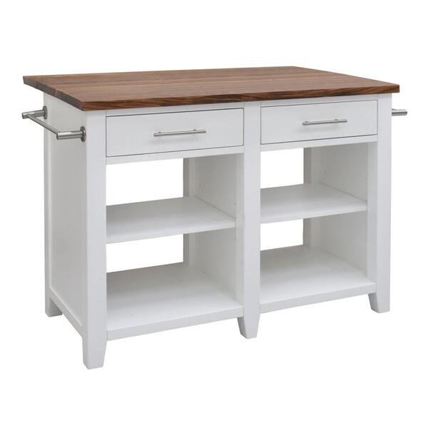 "Hilton Counter Kitchen Island (9"" Leaf), White"