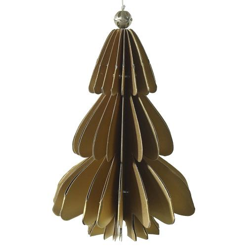 3.5'' x 5'' Gold Holiday Paper Tree Ornament