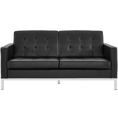 Modway - Loft Leather Loveseat in Black