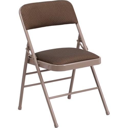 HERCULES Series Triple Braced Brown Fabric Upholstered Metal Folding Chair