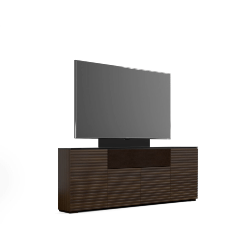 Salamander Designs - The sleek, streamlined design features a horizontal pattern on opium brown wood with solid surface black top and wood block feet.
