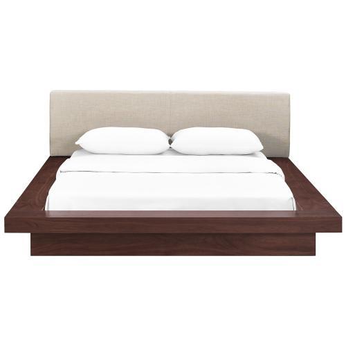Freja Queen Fabric Platform Bed in Walnut Beige