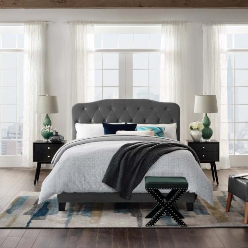 Amelia Full Performance Velvet Bed in Gray