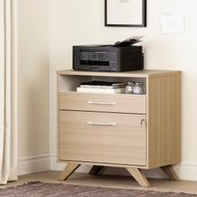 Helsy - 2-Drawer File Cabinet, Soft Elm and White