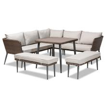 See Details - Baxton Studio Lillian Modern and Contemporary Light Grey Upholstered and Brown Finished 5-Piece Woven Rattan Outdoor Patio Set