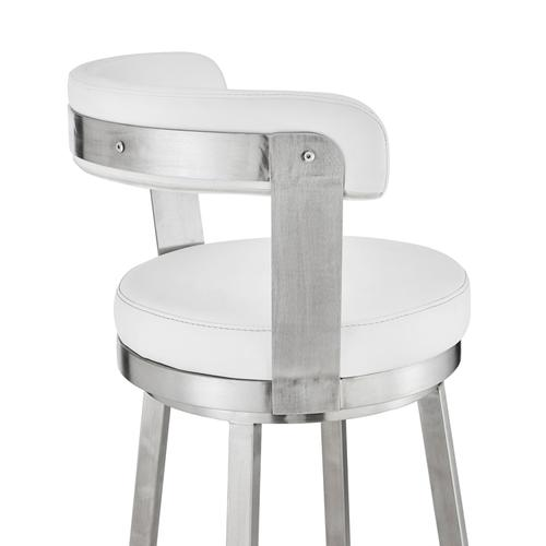 """Bryant 30"""" White Faux Leather and Brushed Stainless Steel Swivel Bar Stool"""