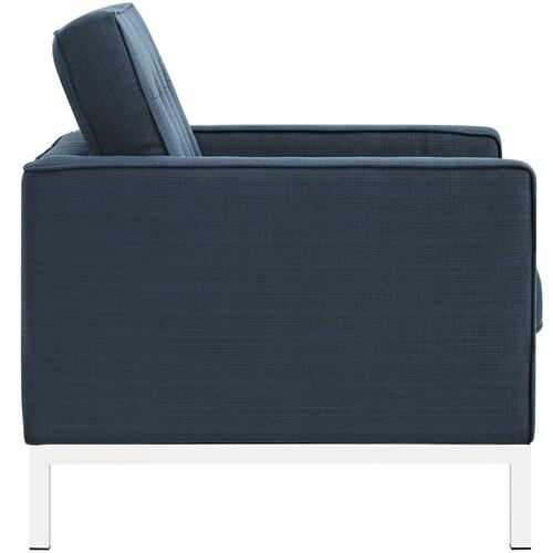 Loft Living Room Set Upholstered Fabric Set of 3 in Azure