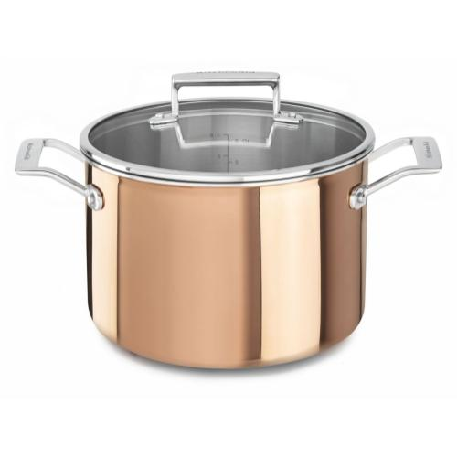 Tri-Ply Copper 8-Quart Stockpot with Lid - Satin Copper