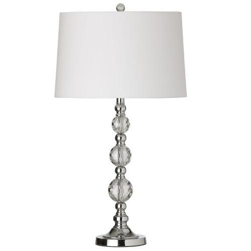 1lt Table Lamp Cut Crystal Ball W/wht Shd