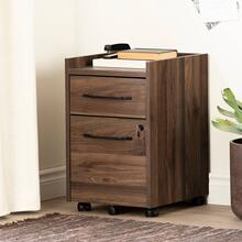 2-Drawer Mobile File Cabinet With Lock - Natural Walnut