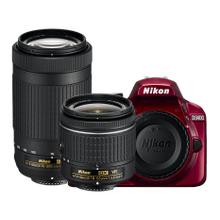 D3400 Two Lens Kit Red (Refurbished)