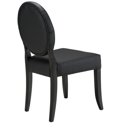 Button Dining Vinyl Side Chair in Black