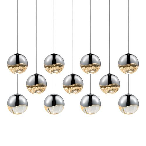 Sonneman - A Way of Light - Grapes® LED Pendant [Size=11-Light Large, Color/Finish=Polished Chrome, Shape=Rectangle Canopy]