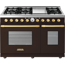 Range DECO 48'' Classic Brown matte, Gold 6 gas, griddle and 2 electric ovens