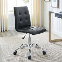 Ripple Armless Mid Back Vinyl Office Chair in Black