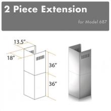"ZLINE 2-36"" Chimney Extensions for 10 ft. to 12 ft. Ceilings (2PCEXT-687)"