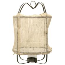 Burlap Lantern  16in X 16in X 45in Metal Frame Pendant Candle Holder with Inside Glass Cylinday and