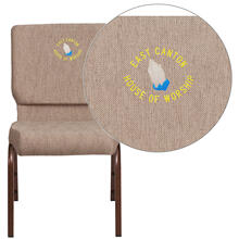 Embroidered HERCULES Series 18.5''W Beige Fabric Stacking Church Chair with 4.25'' Thick Seat - Copper Vein Frame