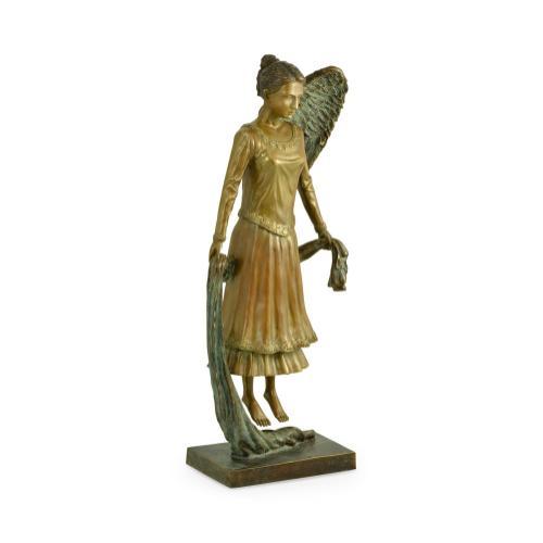 Antique Light Brown Brass Hovering Angel