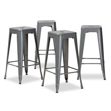 See Details - Baxton Studio Horton Modern and Contemporary Industrial Grey Finished Metal 4-Piece Stackable Bar Stool Set