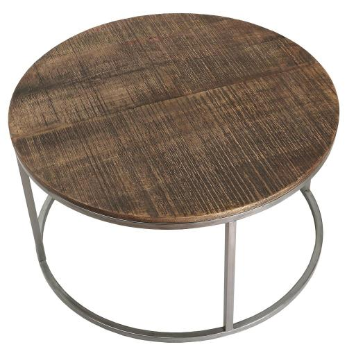 Round Coffee Table - Brindled Fawn Finish