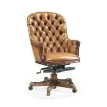 Chesterfield Style High Back Walnut Office Chair, Upholstered in Antique Chestnut Leather