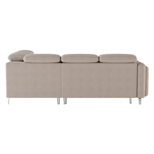 3-Piece Sectional with Pull-out Bed and Storage Ottoman