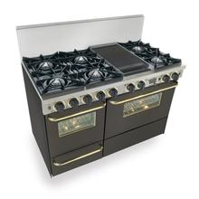 "48"" Dual Fuel, Convect, Self Clean, Open Burners, Black with Brass"