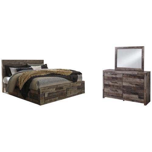 Ashley - King Panel Bed With 6 Storage Drawers With Mirrored Dresser