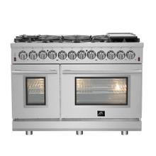 "48"" Gas Range with 240 Volt Electric Oven Dual Fuel FORNO ALTA QUALITA Pro-Style with 8 Defendi Italian Burners 107,000 BTU All 304 Stainless Steel FFSGS6125-48"