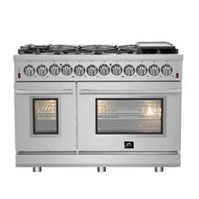 "48"" Dual Fuel FORNO ALTA QUALITA Pro-Style with 8 Defendi Italian Burners 107,000 BTU All 304 Stainless Steel FFSGS6125-48"