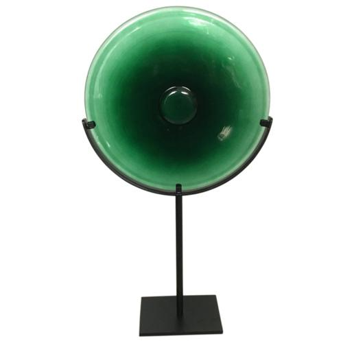 Miramar Tall Emerald Blown Glass Disc with Stand