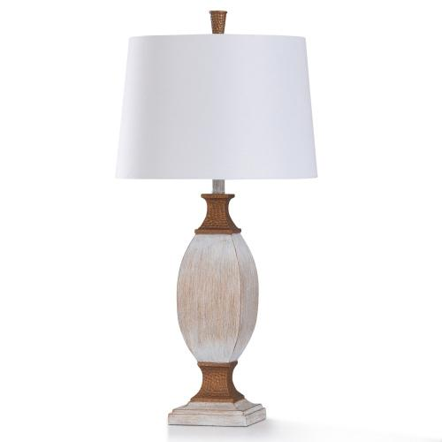 L319529  WILTON CREAM TABLE LAMP  16in w. X 32in ht. X 16in d.  Traditional Washed White with Dimpled Coppe