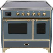 See Details - Majestic II 40 Inch Electric Freestanding Range in Blue Grey with Brass Trim