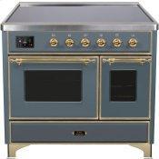 Majestic II 40 Inch Electric Freestanding Range in Blue Grey with Brass Trim