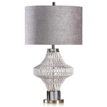 CHARLOTTE TABLE LAMP  Natural Finish on Rope Body with Gold Finish on Metal and Crystal Base  Hard