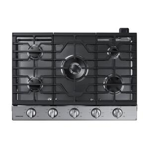 "Samsung30"" Smart Gas Cooktop with Illuminated Knobs in Stainless Steel"