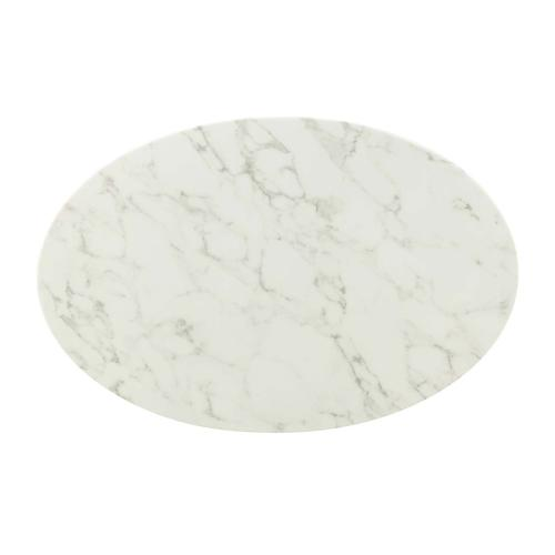 """Lippa 42"""" Oval-Shaped Artifical Artificial Marble Coffee Table in Gold White"""
