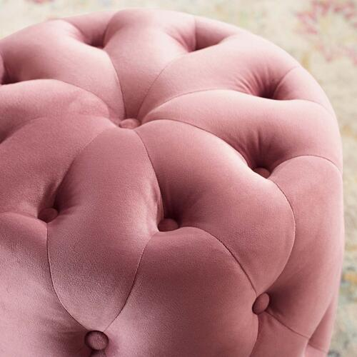 Amour Tufted Button Round Performance Velvet Ottoman in Dusty Rose