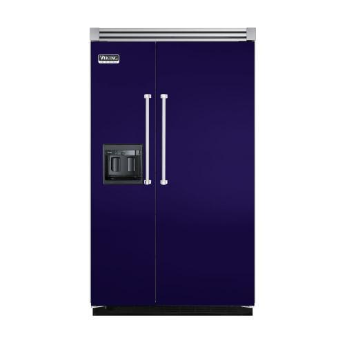 """Viking - Cobalt Blue 48"""" Side-by-Side Refrigerator/Freezer with Dispenser - VISB (Integrated Installation)"""