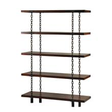 Unique application of metal chained supports on a 5 shelf book case Dark walnut finish
