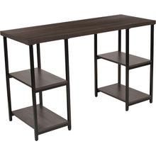 View Product - Homewood Collection Driftwood Finish Console Table with Black Metal Frame