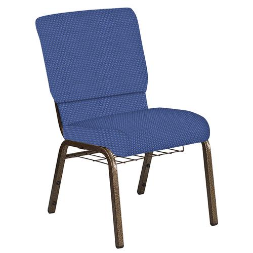 Flash Furniture - 18.5''W Church Chair in Canterbury Cadet Fabric with Book Rack - Gold Vein Frame