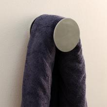 "Wall-mount towel hook made of chrome plated brass. Diam: 4"", D: 3 1/4""."
