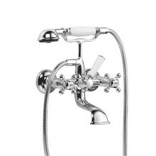 Tub mixer for wall-mounted installation with hand shower set - polished chrome